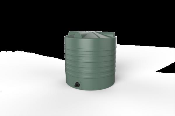 round rainwater tank green