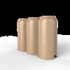 3 brown short slim rainwater tanks