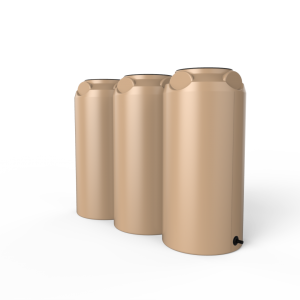 3 brown short slim rainwater tanks