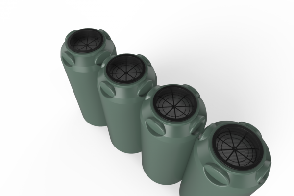 short slim rainwater tanks green