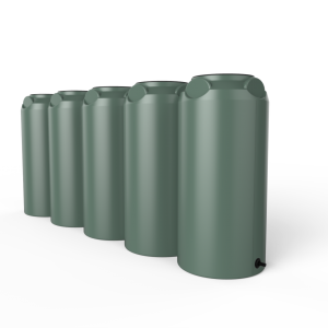 green short slim rainwater tank